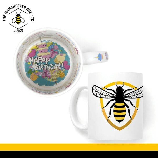 Bee Badge Happy Birthday Mug