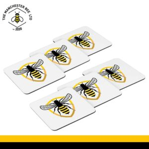 Set Of 6 Coasters - Bee Badge