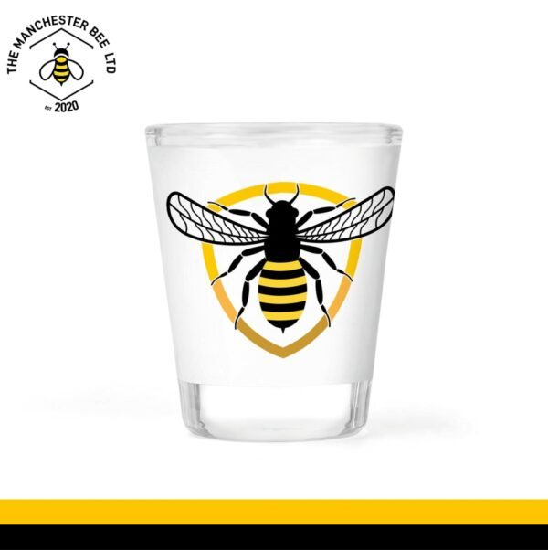 Bee Badge Frosted Shot Glass