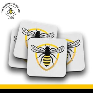 Set Of 4 Coasters - Bee Badge