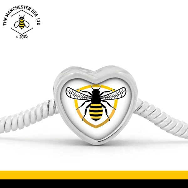 Bee Badge Heart Bracelet Charm