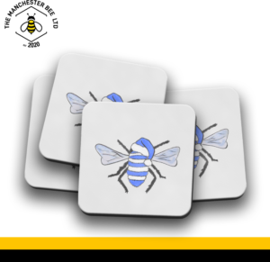 Set Of 4 Coasters - Blue Christmas Bee