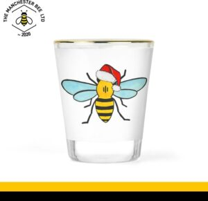 Christmas Bee Gold Rim Shot Glass