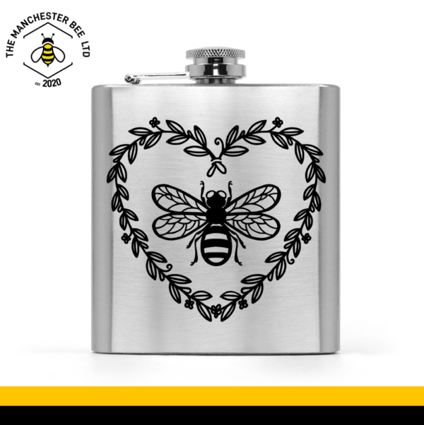 Love Heart Wreath Bee Hip Flask