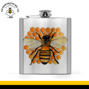 Honeycomb Worker Bee Hip Flask