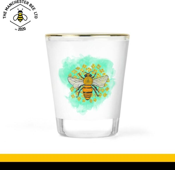 Green Floral Bee Gold Rim Shot Glass