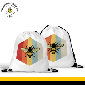 Retro Bee Drawstring Sports Bag