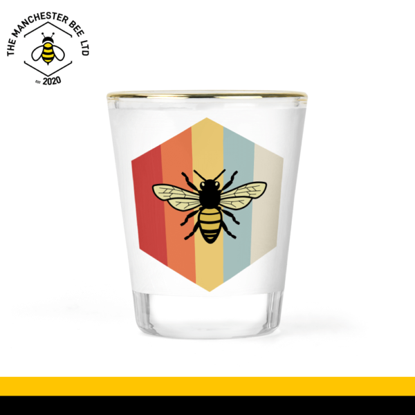 Retro Bee Gold Rim Shot Glass