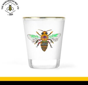 Floral Bee Gold Rim Shot Glass