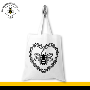 Bee Heart Wreath Jersey Tote Bag
