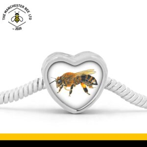 Lifelike Bee Portrait Heart Bracelet Charm