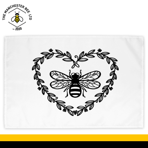 Love Heart Wreath Bee Cotton Tea Towel