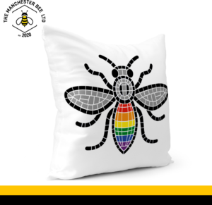Manchester Pride Worker Bee Cushion Cover 40cm x 40cm