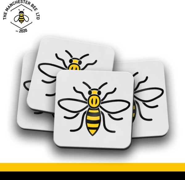 Set Of 4 Coasters - Manchester Worker Bee