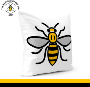 Manchester Worker Bee Grey Wings Cushion Cover 30cm x 30cm