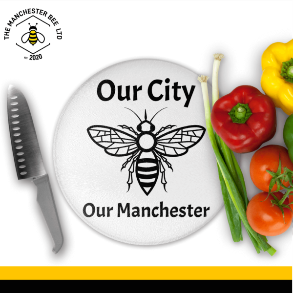 Our City Our Manchester Round Chopping Board