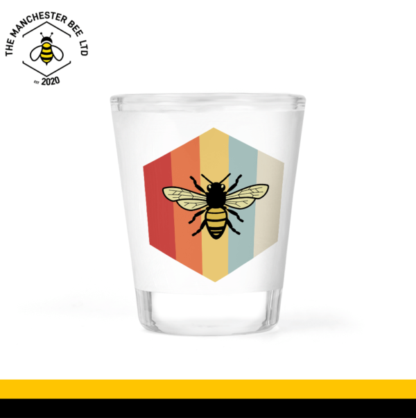 Retro Bee Frosted Shot Glass