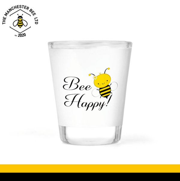 Bee Happy Frosted Shot Glass