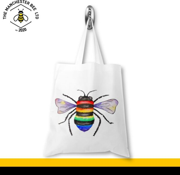Rainbow Key Worker Bee Portrait Jersey Tote Bag