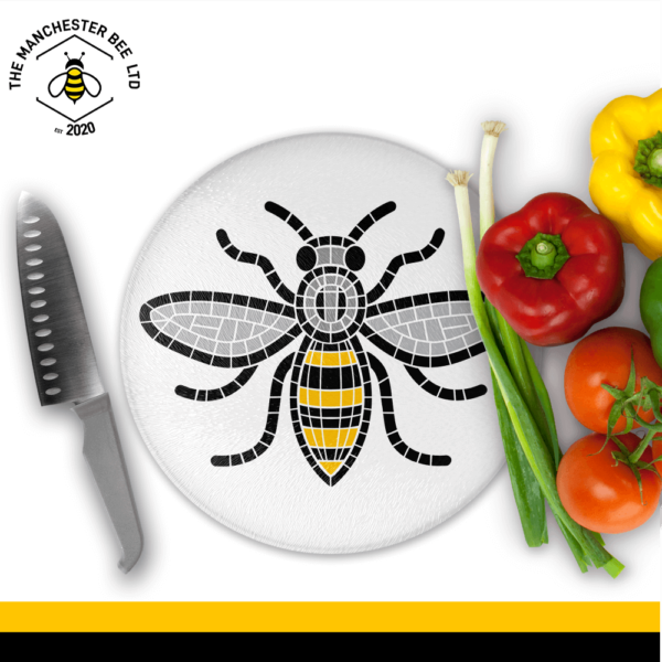 Manchester Mosaic Worker Bee Round Chopping Board