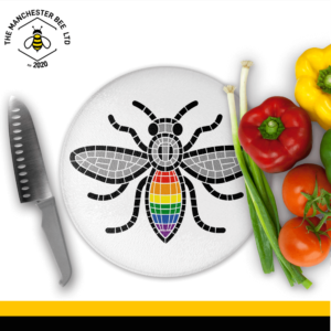 Manchester Pride Worker Bee Round Chopping Board