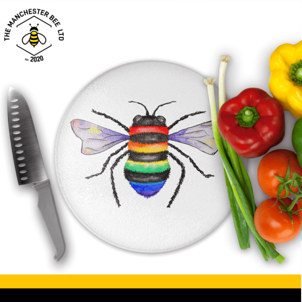 Key Worker Bee Round Chopping Board