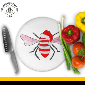 Red Christmas Bee Round Chopping Board