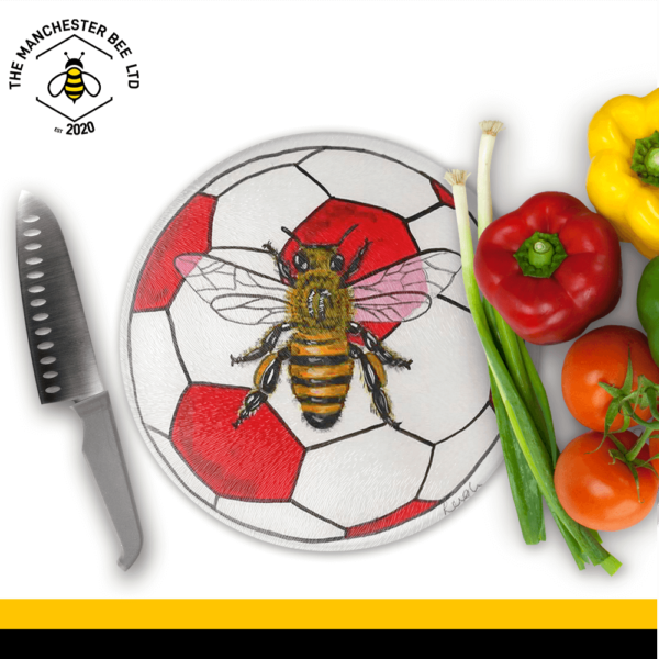 Red Football Bee Round Chopping Board