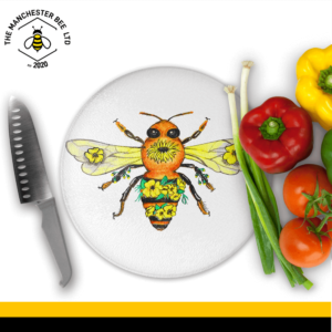 Yellow Floral Bee Round Chopping Board