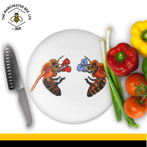 Boxing Bees Round Chopping Board
