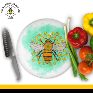 Green Floral Worker Bee Round Chopping Board