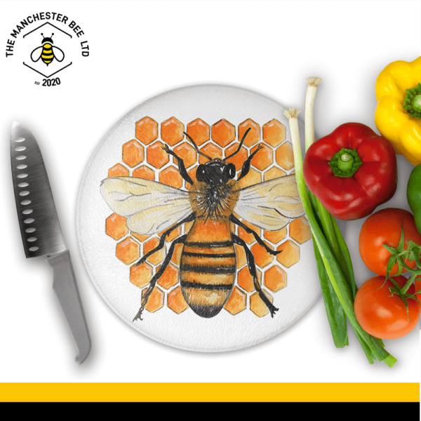 Honeycomb Worker Bee Round Chopping Board