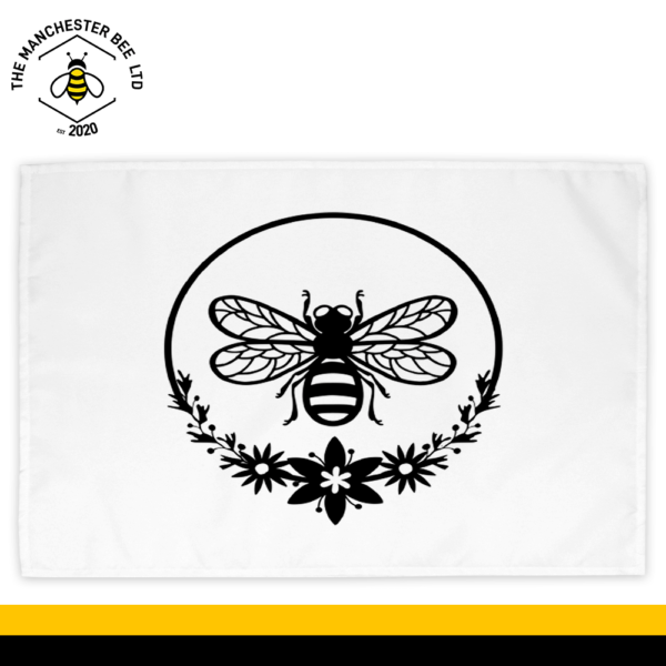 Round Wreath Bee Cotton Tea Towel