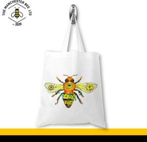 Yellow Floral Bee Jersey Tote Bag