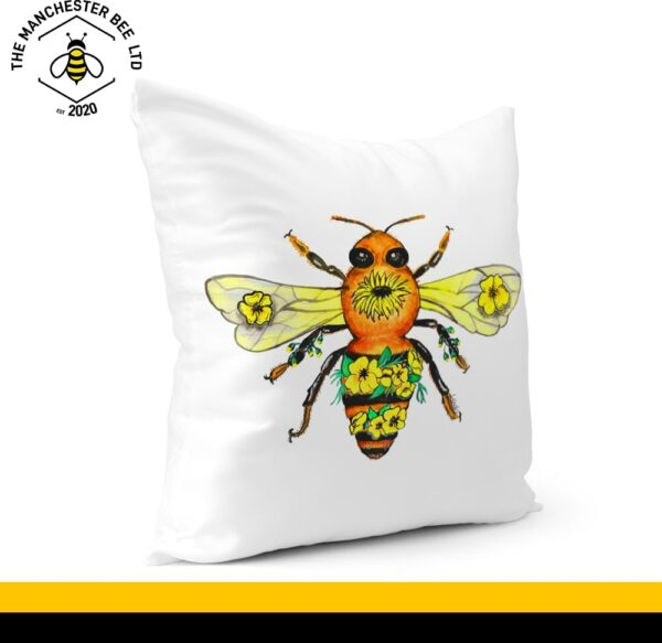 Yellow Floral Bee Cushion Cover 40cm x 40cm