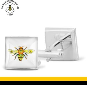 Yellow Floral Bee Cufflinks