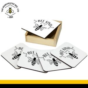 Set Of 4 Gift Boxed Coasters Bee Kind Plaque