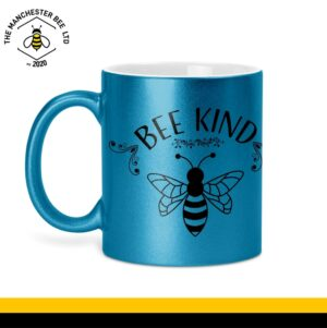 Bee Kind Glitter Mug Blue