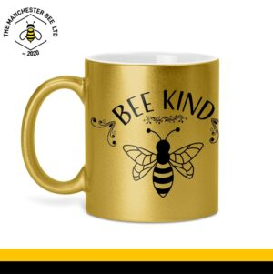 Bee Kind Glitter Mug Gold