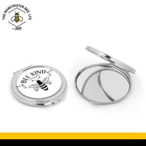 Bee Kind Silver Compact Mirror