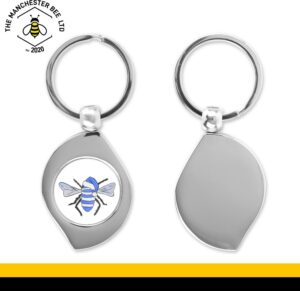 Blue Christmas Bee Teardrop Keyring