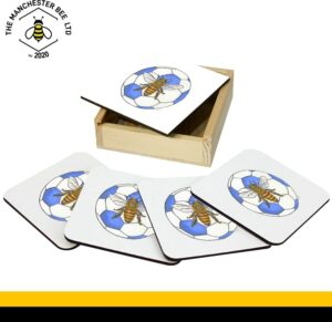 Set Of 4 Gift Boxed Coasters Blue Football Bee