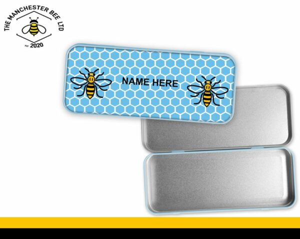 Blue Honeycomb Personalised Manchester Worker Bee Pencil Tin