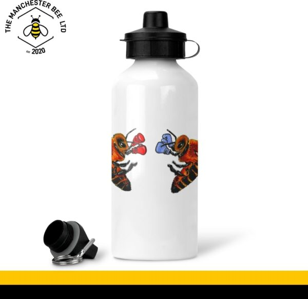 Boxing Bees White Aluminium Sports Bottle