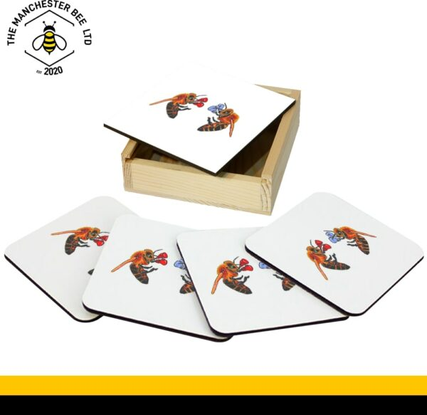 Set Of 4 Gift Boxed Coasters Boxing Bees