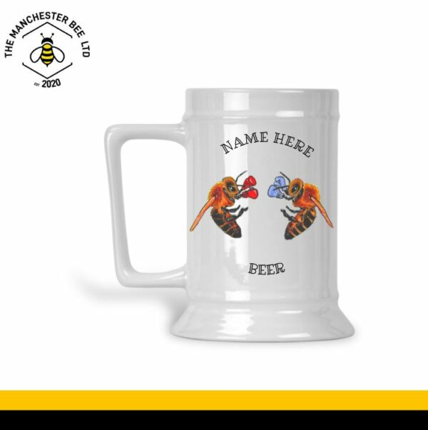 Boxing Bees Ceramic Beer Stein