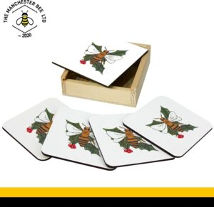 Set Of 4 Gift Boxed Coasters Christmas Holly Bee