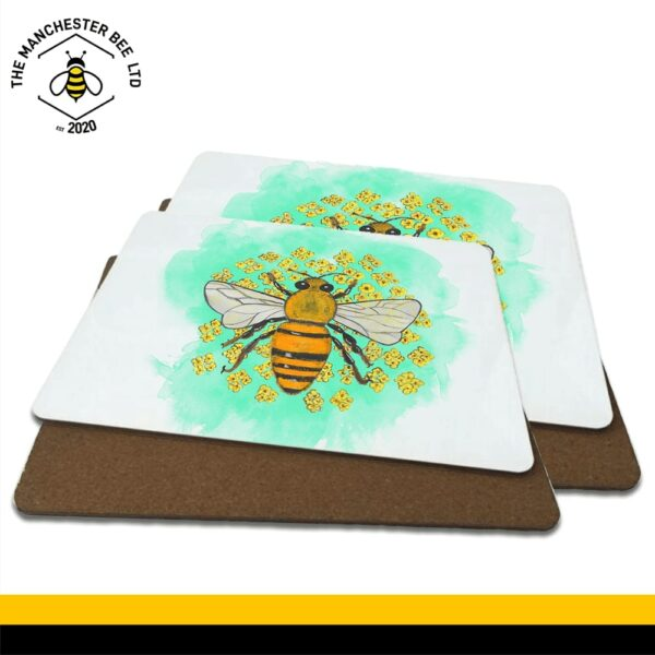 Green Floral Bee Luxury Placemats