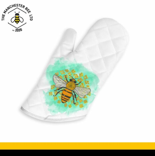 Green Floral Bee Oven Glove