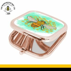 Green Floral Bee Square Rose Gold Compact Mirror